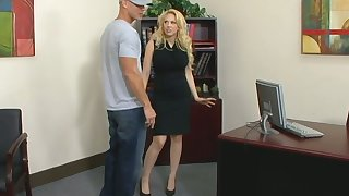 Posh blond female chief Kagney Linn Karter fucks new employee right on the table