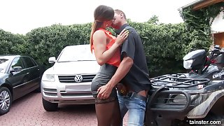 nasty chick in short skirt and stockings Barbara Bieber rides a big dick outdoor