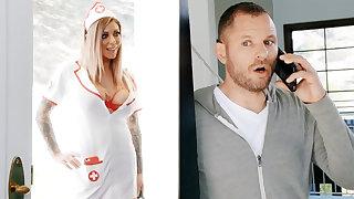 Nurse hardcore fuck businessman for jar of sperm