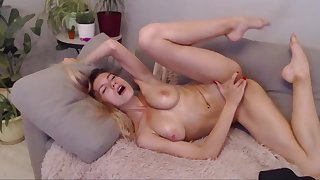 Skinny girl with nice tits oiled up and masturbating on ChatGirls.cloud