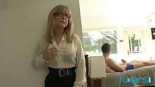 Mature fake tittied stepmom caught her stepson jerking off hard big cock
