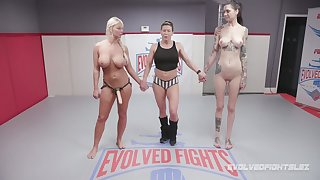 Hot BJJ MILF London River submits her opponent and then fucks her hard