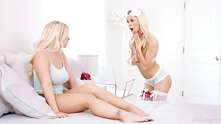Sizzling blondie in sexy nurse outfit and stockings Kenzie Reeves gives a cunnilingus