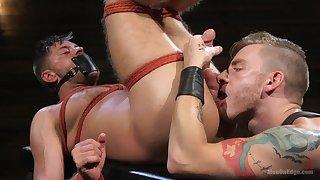 Bondage BDSM lover dude blows his helpless boyfriend