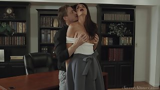 Silvia Saige rides a fat cock in the library and moans the whole time