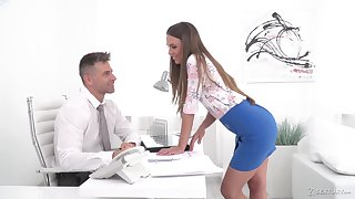 Red haired secretary Karina Grand gives a deepthroat blowjob and gets her anus rammed