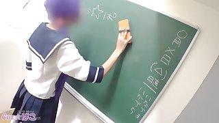 Horny teacher fingering pussy of Japanese schoolgirl