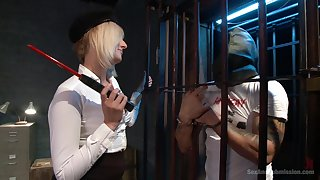 Blonde teacher Kate England tied up and fucked by her horny student