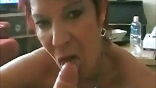 This short haired BBW with big tits is in love with my dick and she's hot