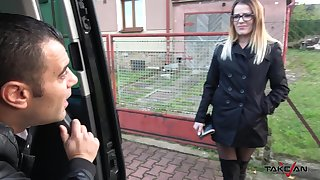 Kinky dude fucks nasty chick in ripped black nylons Samantha in the car