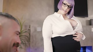 Female boss Alexxxis Allure turns her willing employee into her sex slave