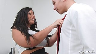 Brunette wife Tara Blowns takes a dick in her hands and pussy