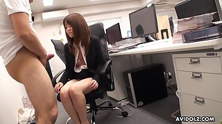 Japanese office babe stays late after work to suck her co worker's dick