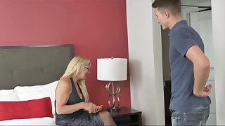 Insane, mature blondie in luxurious, ebony pantyhose is about to get humped in a motel apartment