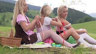 Karol Lilien and her babes enjoying a pussy eating fest in the nature