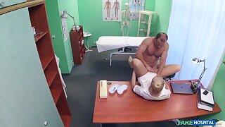 Doctor fucks nurse in crazy scenes then cums on her tits