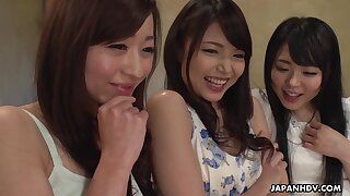 Three hot Japanese women enjoying a mind blowing group sex with her friends