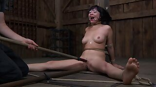 Sexy brunette Nyssa Nevers moans and cries during torture session