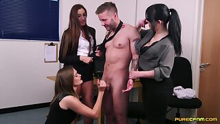 Lucky dude gets intimate with three whores for a complete CFNM