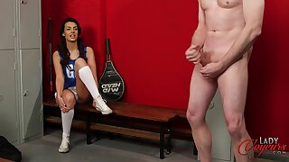 Cheerleader Abigail B watches a horny guy playing with his dick