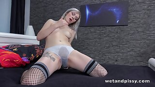 Lustful blond babe Kate Freshis fucking pussy with wet panties