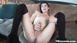 Solo Casting Tgirl Jerking Her Hard Cock