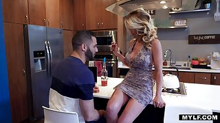 Lustful broad back the beam bottomed housewife Prestyn Lee rides strong cock back the scullery