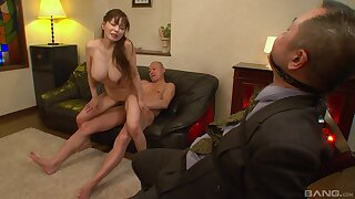 Nice tits Asian babe opens the brush legs to shrink from fucked by extent of dudes