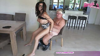Titillating and busty German milf secretary thither glasses and an ugly guy