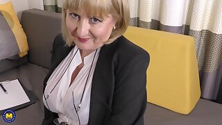 A lengths glamour job interview by 57yo handsome Lorna blu