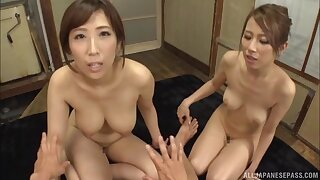 Amateur orgy between a lucky guy and cock hungry Japanese cuties