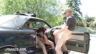 Nasty Redhead Fucks Superannuated Man In Bushes