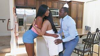 Black man fucks naked ebony sluts nigh serious residence trio
