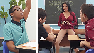 Sumptuous professor shag academy girl with BIG BLACK COCK in along to class
