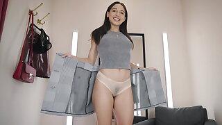 A potable dildo in her buttocks