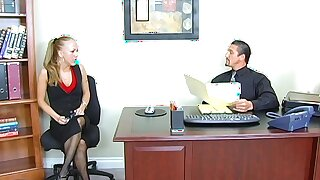 Cum in mouth ending after passionate gender in the office with Kylie