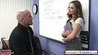 Cute babe gets an A and Jillian Janson unconditioned knows how to fuck