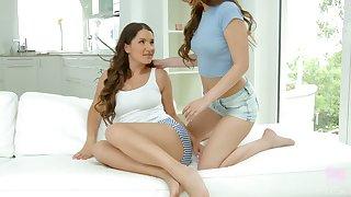 Sexy romantic real lesbian Mia Ferrari wanna use a glass toy for good masturbation