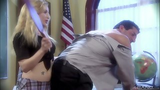 sexy teacher Aiden Starr gets her pussy banged in the classroom