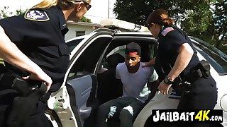 Hot cops love 4LEGS - interracial MILF threesome